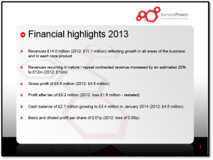 ServicePower financial results 2013