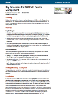 Gartner Key Processes for B2C Field Service Management