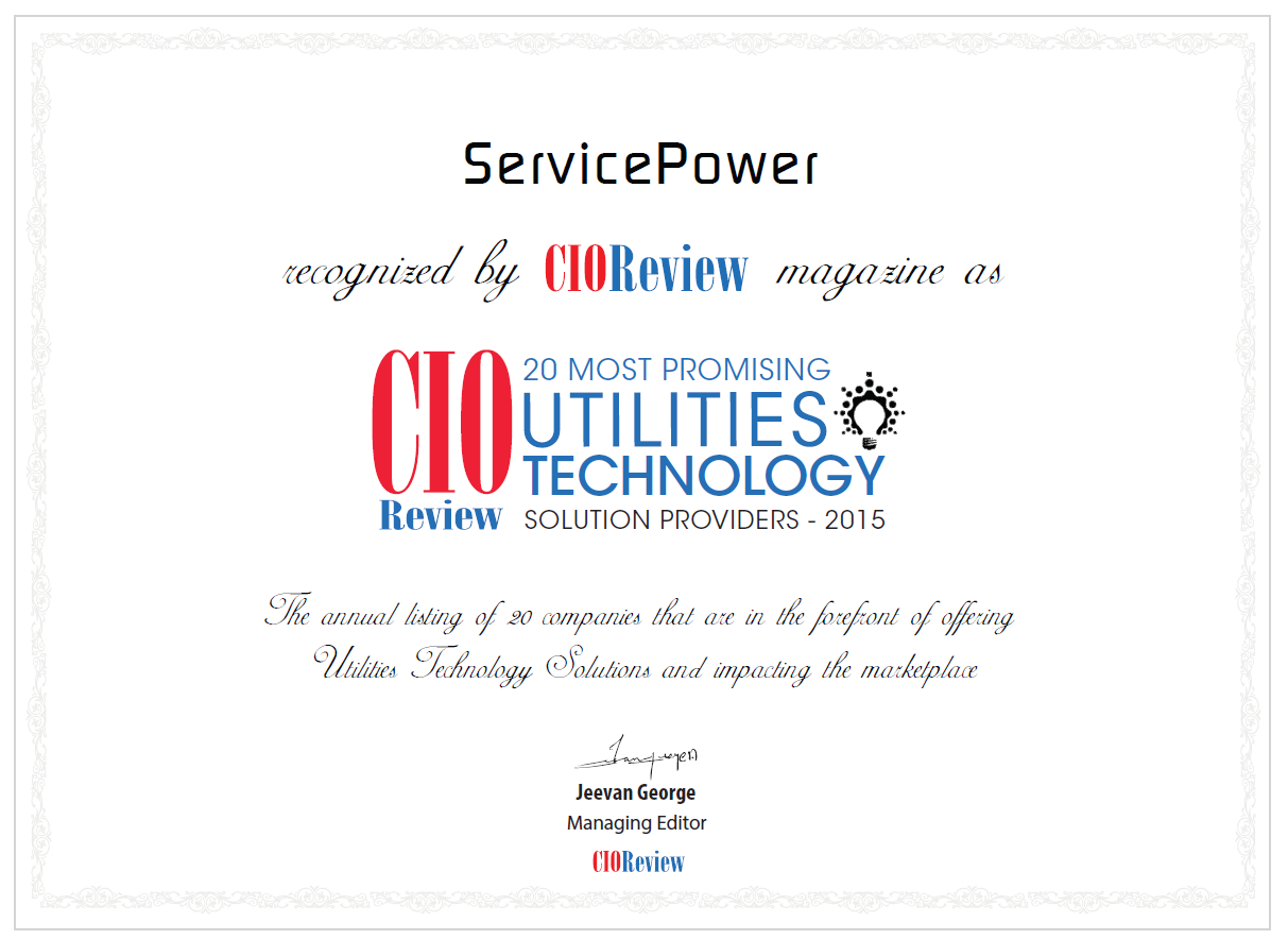 ServicePower named to Top 20 Most Promising Utilities Technology Solution Providers 2015