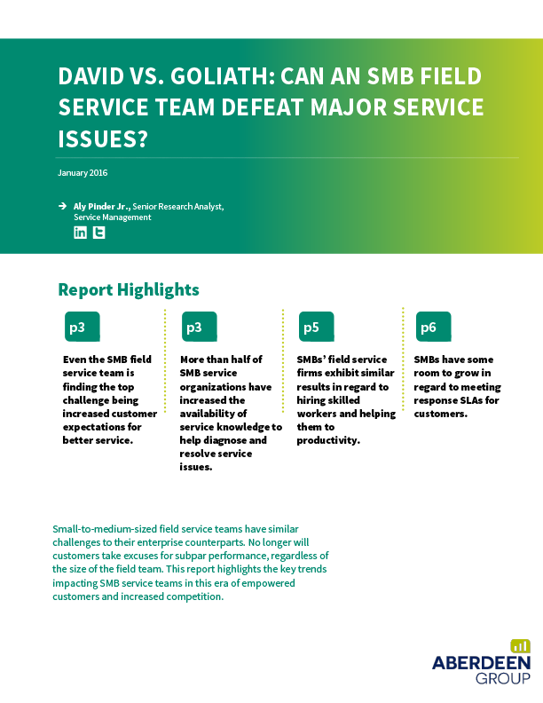 Free White Paper - David vs. Goliath: Can an SMB Field Service Team Defeat Major Service Issues?