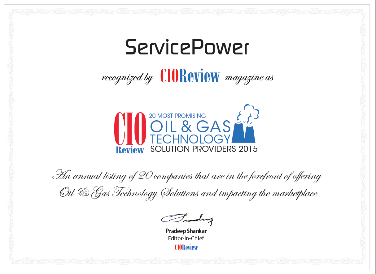 ServicePower named to Top 20 Oil and Gas Tech Providers