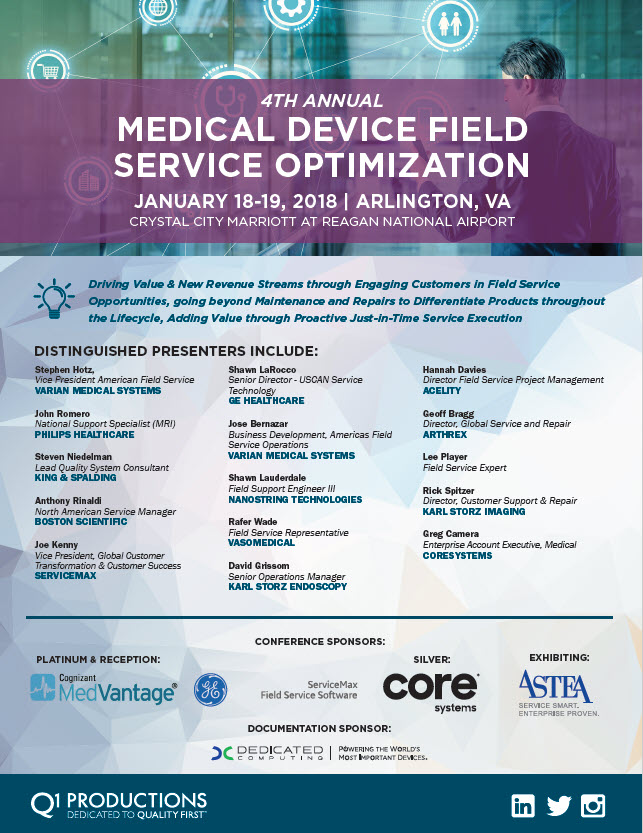 Medical device field service optimization