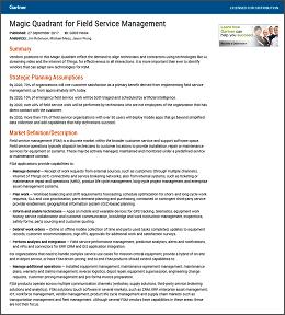 Gartner 2017 Magic Quadrant for Field Service Management