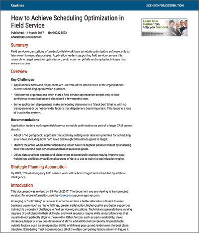 From Gartner: How to Achieve Scheduling Optimization in Field Service
