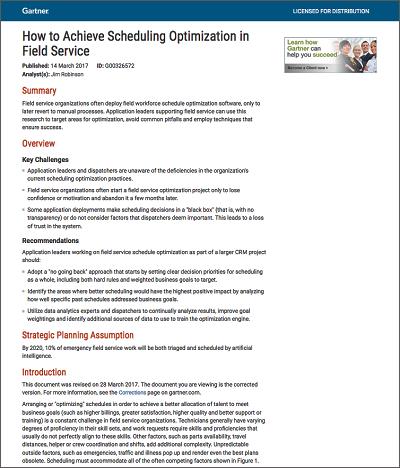 Download: Gartner How to Achieve Scheduling Optimization in Field Service