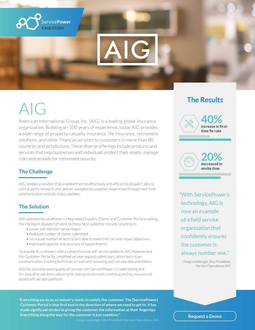 AIG Increases First Time Fix Rates