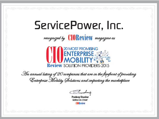 ServicePower named to Top 20 Enterprise Mobility Providers