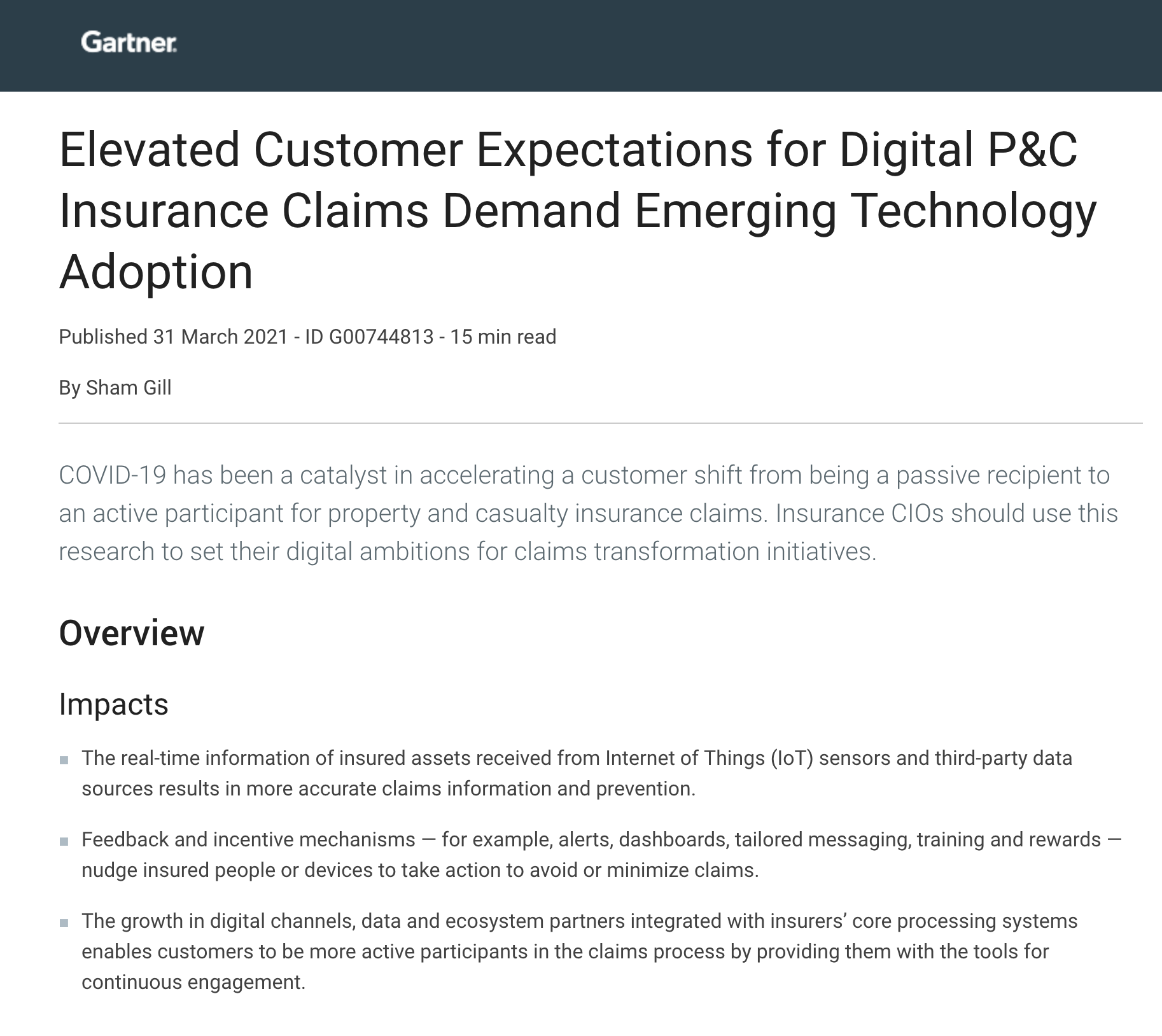 Gartner Report: Elevated Customer Expectations for Digital P&C Insurance Claims Demand Emerging Technology Adoption