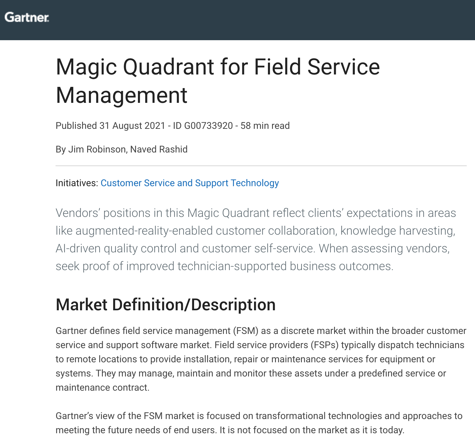 Gartner Report: Field Service Management Magic Quadrant Report