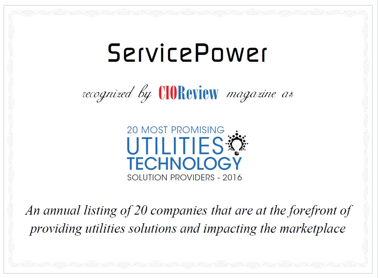 ServicePower awarded as one of the 20 Most Promising Utilities Technology Solution Providers 2016 by CIOReview | ServicePower | Innovating Field Service