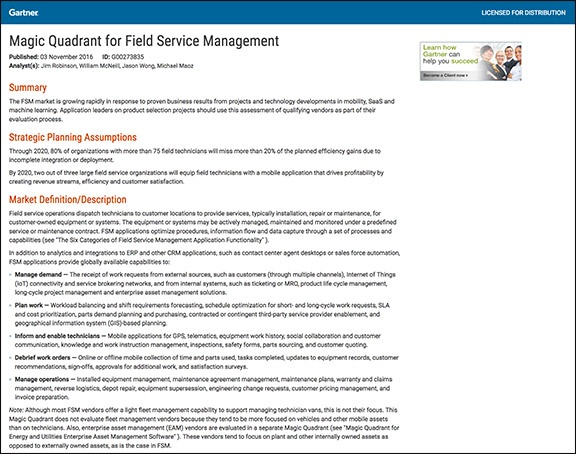 ServicePower Recognized by Gartner in 2016 | ServicePower | Innovating Field Service